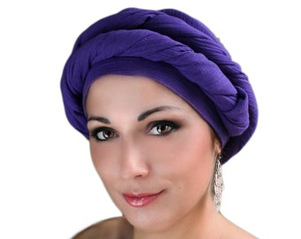 Purple Cotton Turban, Head Wrap, Chemo Hat, Head Wrap, Cotton Gauze Turban, Alopecia Scarf, Boho, Gypsy, One Piece Wrap