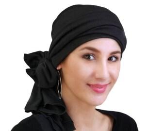 Turban Diva Black Turban, Head Wrap, Chemo Hat, Alopecia Head Scarf, Jersey Knit Hat & Scarf Set