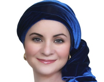 Turban Diva Cobalt Blue Velvet Turban, Head Wrap, Chemo Hat, Alopecia Scarf, Hat & Scarf Set
