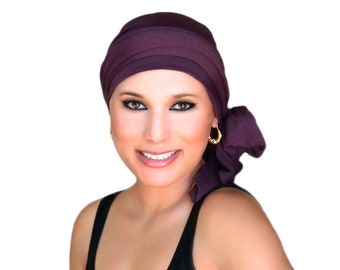 Turban Diva Plum Turban, Purple Turban, Chemo Hat, Eggplant Turban, Head Wrap, Alopecia Head Scarf Hat & Scarf Set, Gift for Her