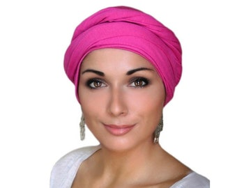 Hot Pink Turban Dreads Wrap, Head Wrap, Alopecia Scarf, Chemo Hat, Boho Gypsy Tribal, One Piece