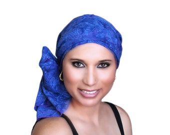 Turban Diva Blue Palm Purple Batik Fashion Turban Scarf Chemo Hat Alopecia Head Wrap, Hat & Scarf Set