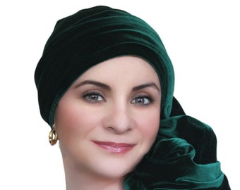 Turban Diva Emerald Green Velvet Turban, Head Wrap, Chemo Hat, Alopecia Scarf, Hat & Scarf Set