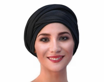 Turban Diva Black Turban Dreads Wrap, Head Wrap, Alopecia Scarf, Chemo Hat, Boho Jersey Knit Fitted 1 Piece Wrap