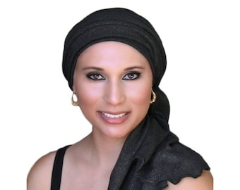 Turban Diva Black Gold Turban, Head Wrap, Chemo Hat, Alopecia Head Scarf, Jersey Knit Hat & Scarf Set