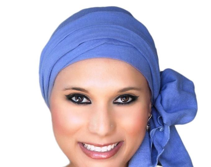 RETIREMENT SALE Save 50% Turban Diva Denim Blue Turban Hat, Head Wrap Chemo Hat, Cancer Turban Cotton Gauze, Hat & Scarf Set