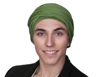 Men's Turban, Olive Green Turban, Dreads Wrap, Motorcycle Scarf, Gifts for Men, Tactical Scarf