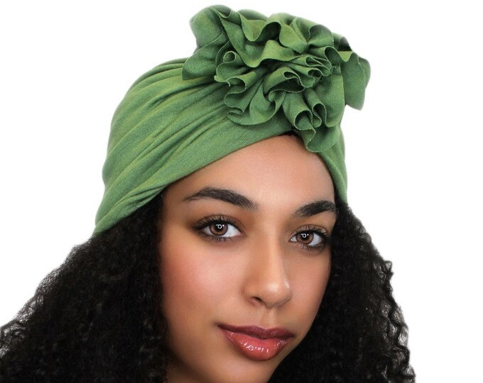 Turban Diva Olive Green Flower Turban, Chemo Hat, Sleep Hat, Alopecia Cap,  Rayon Knit, Pretied Turban 300-31
