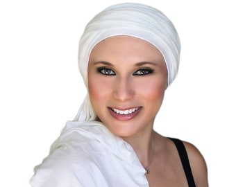 Turban Diva Creme Turban, Ivory Turban, Head Wrap, Chemo Hat, Alopecia Scarf, Hijab, One Piece Fitted, Jersey Knit