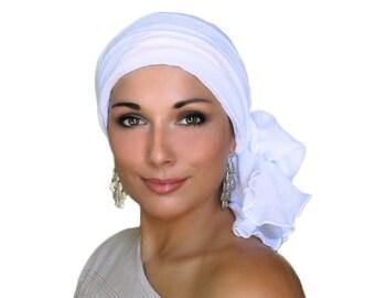 Turban Diva Turban, Chemo Hat, Head Wrap, White Gauze Turban, Alopecia Scarf, White Turban, Hat & Scarf Set