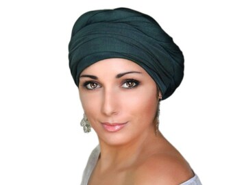 Black or Navy Blue Cotton Turban, Head Wrap, Chemo Hat, Head Wrap, Cotton Gauze Turban, Alopecia Scarf, Boho, Gypsy, One Piece Fitted