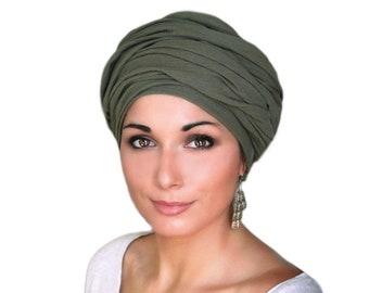 Olive Green Cotton Turban, Head Wrap, Chemo Hat, Cotton Gauze Turban, Alopecia Scarf, Army Green, Boho, Gypsy, One Piece Fitted Wrap
