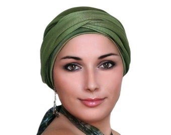 Turban Diva Turban Diva Olive Green Turban Hat and Scarf Set, Head Wrap, Alopecia Head Scarf, Chemo Hat, Hat & Scarf Set