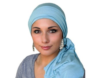 Turban Diva Chemo Hat, Pre-tied Turban, Head Wrap, Alopecia, Chemo Hat & Scarf Set, Dusk Blue, Light Blue