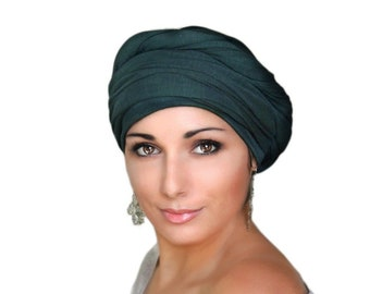 Forest Green Turban, Pretied Turban, Chemo Hat Head Wrap Alopecia Scarf or Hijab, One Piece Fitted Wrap, Jersey Knit
