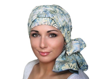 Denim and Lace Batik Floral Turban Hat Set, Blue, Yellow, Creme, Alopecia Scarf, Chemo Hat, Hat & Scarf Set