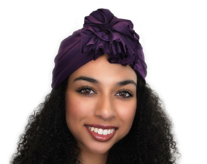 Turban Diva Plum Flower Turban, Chemo Hat, Sleep Hat, Alopecia Cap,  Rayon Knit, Pretied Turban 300-05