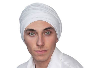 Men's Turban, Man's Head Wrap, Dreads Wrap, Ski Hat, Motorcycle Scarf, Man's Ivory Turban, Off-white Turban, Tactical Scarf