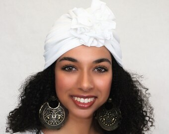 Turban Diva Flower Turban, Chemo Hat, Sleep Hat, Alopecia Cap,  Rayon Knit, Pre-tied Turban, White Turban
