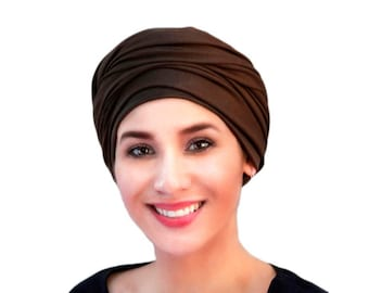 Turban Diva Turban, Chemo Hat, Head Wrap, Brown Turban, Alopecia Scarf, Hijab, Boho, Gypsy, One Piece Fitted, Jersey Knit