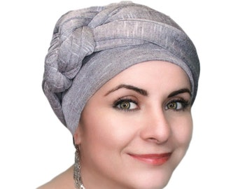 Pale Plum Heather Turban, Purple Turban, Jersey Knit Head Wrap, Chemo Hat, Alopecia Scarf, One Piece Fitted Wrap