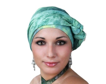 Turban Diva Jade Marble Turban Hat and Scarf Set, Head Wrap, Alopecia Head Scarf, Chemo Hat. Cancer hat