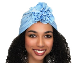 Turban Diva Flower Turban, Chemo Hat, Sleep Hat, Alopecia Cap,  Rayon Knit, Pre-tied Turban, Sky Blue Turban 300-38