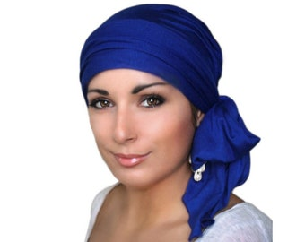 Royal Blue Turban Chemo Hat Head Wrap Alopecia Head Scarf Jersey Knit, Hat & Scarf Set