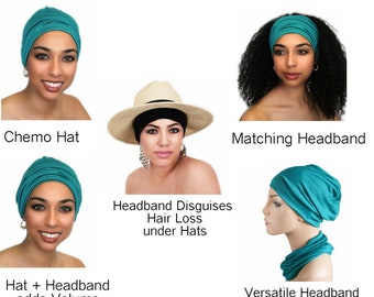 Chemo Hat, Sleep Hat, Alopecia Cap, Cloche, Scarf Liner, Slouch Hat, Emerald Teal, Turquoise, Rayon Knit, pre-tied turban