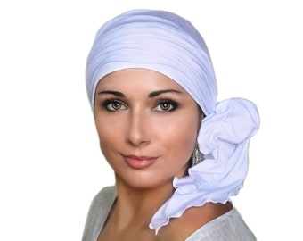 Turban Diva White Turban, Head Wrap, Chemo Hat, Alopecia Head Scarf, Hat & Scarf Set