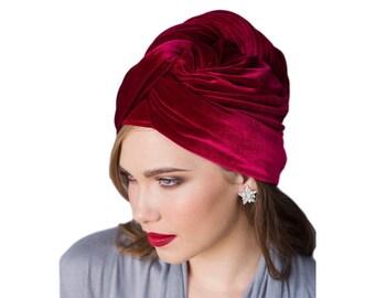 Turban Diva Red Velvet Turban, Head Wrap, Chemo Hat, Alopecia Scarf, Hat & Scarf Set