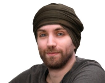 Men's Turban, Man's Dark Olive Green Turban, Head Wrap, Dreads Wrap, Cowl, Ski Hat, Motorcycle Scarf,Tactical Scarf