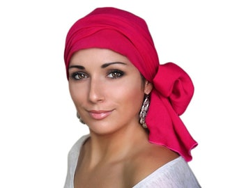 Hot Pink Turban Hat Set, Head Wrap Alopecia Scarf, Chemo Hat, Fuchsia, Hat & Scarf Set, Rayon Challis