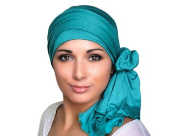 Turban Diva Emerald Teal Turban Head Wrap Alopecia Chemo Head Scarf, Hat & Scarf Set,Gift for Her, Gift for Cancer Survivor