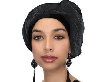 Turban Diva Black Velvet Turban, Head Wrap, Chemo Hat, Alopecia Scarf, Hijab, One Piece Fitted 332-03