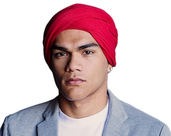 Men's Turban,Man's Red Turban, Man's Head Wrap, Dreads Wrap, Ski Hat, Motorcycle Scarf, Tactical Scarf