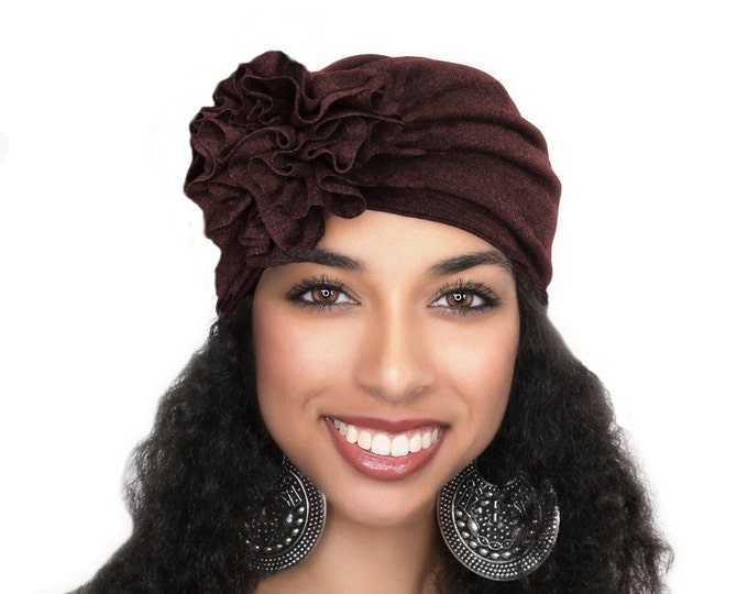 Turban Diva Dark Brown Flower Turban, Chemo Hat, Sleep Hat, Alopecia Cap,  Rayon Knit, Pretied Turban 300-11