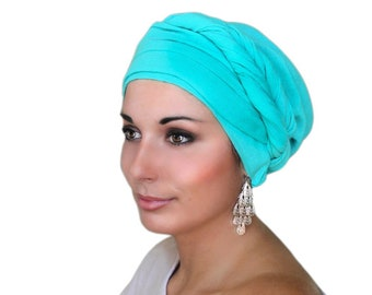 Turban Diva Chemo Hat, Turban, Head Wrap, Alopecia Scarf, Jade Cotton Gauze, Turquoise Turban, Hat & Scarf Set, Gift for Her