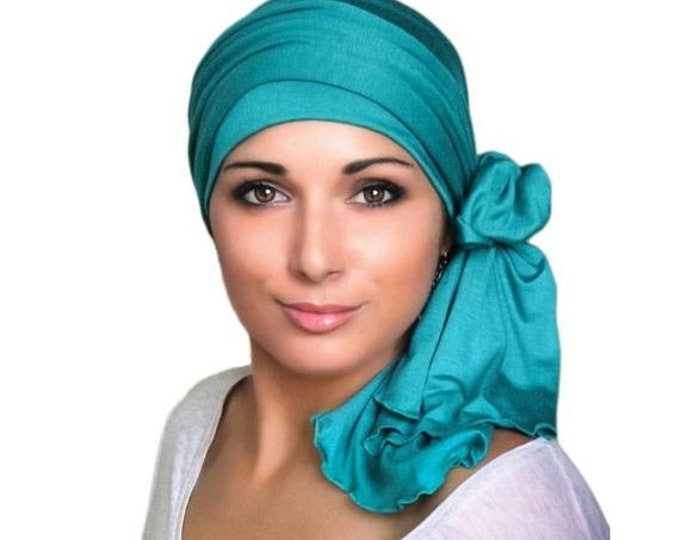 ON SALE Save 30% Turban Diva Emerald Teal Turban Head Wrap Alopecia Chemo Head Scarf, Jersey Knit Hat & Scarf Set, Gift for Her, Gift for Ca