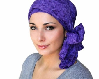 ON SALE Save 30% Turban Diva Purple Craze Turban, Chemo Hat,Head Wrap, Alopecia Scarf, Batik Boho, Chemo Turban, Hat & Scarf Set