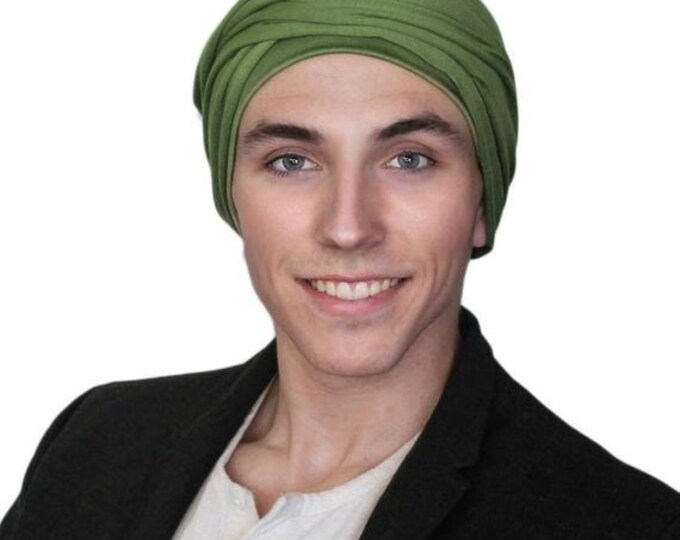 ON SALE Save 30% Men's Turban, Olive Green Turban, Dreads Wrap, Motorcycle Scarf, Gifts for Men, Tactical Scarf