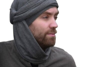ON SALE Save 30% Men's Turban, Man's Head Wrap, Dreads Wrap, Ski Hat, Motorcycle Scarf, Man's Charcoal Gray Turban, Tactical Scarf