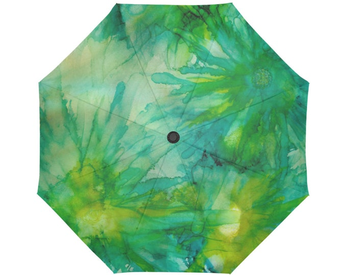 Automatic Open/Close Umbrella, Floral, Abstract, Green, Gold