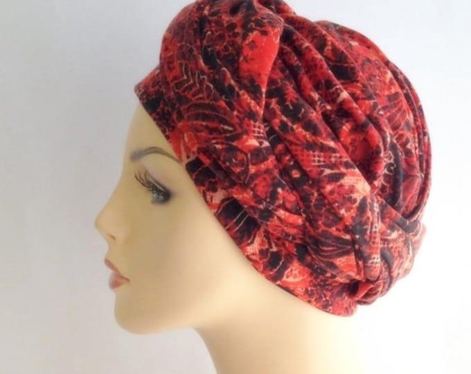 RETIREMENT SALE Turban Diva Orange Black Turban, Head Wrap, Chemo Hat, Head Scarf, Jersey Knit Hat & Scarf Set