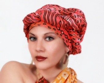 ON SALE Save 40% Tribal Sun Red Turban Head Wrap, Alopecia Scarf, Chemo Hat, Boho Gypsy Tribal,  Dreads Wrap, One Piece Fitted Wrap, Cotton