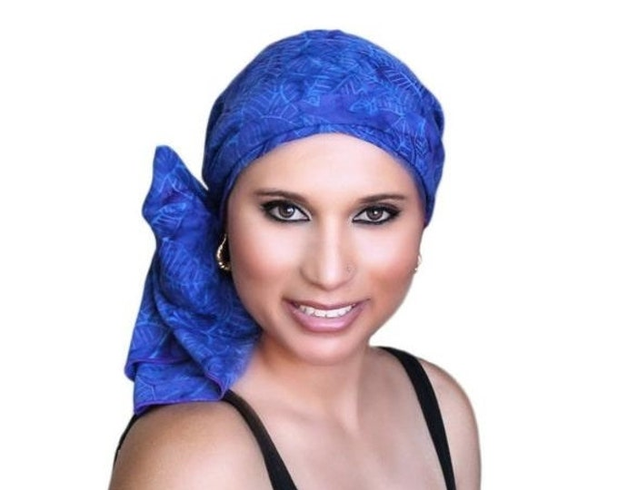 ON SALE Save 30% Turban Diva Blue Palm Purple Batik Fashion Turban Scarf Chemo Hat Alopecia Head Wrap, Hat & Scarf Set