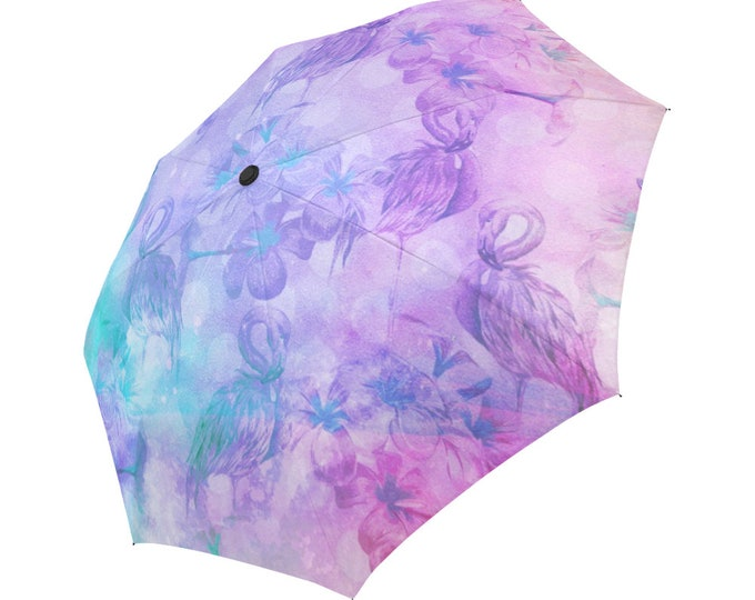 Automatic Open/Close Umbrella, Flamingo, Purple, Pink, Blue