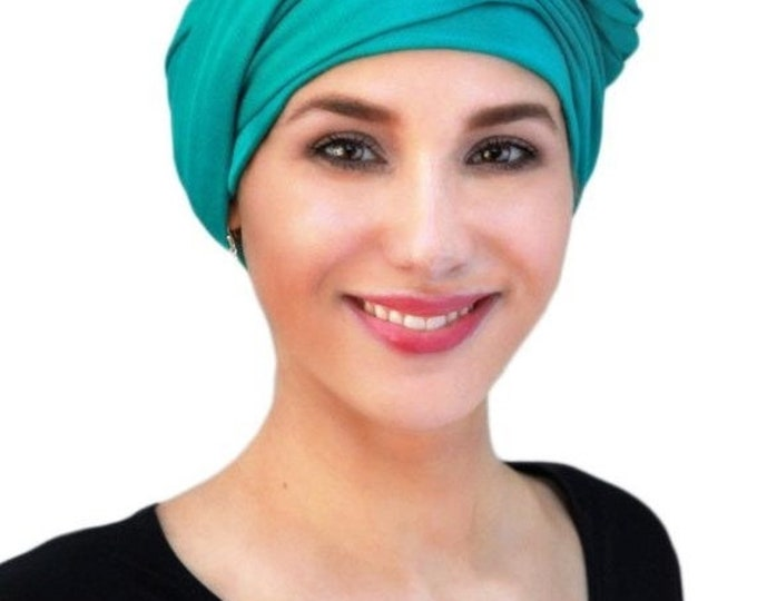ON SALE Save 30% Emerald Teal Turban Jersey Chemo Hat Head Wrap Alopecia ScarfOne Piece Fitted Wrap, Jersey Knit