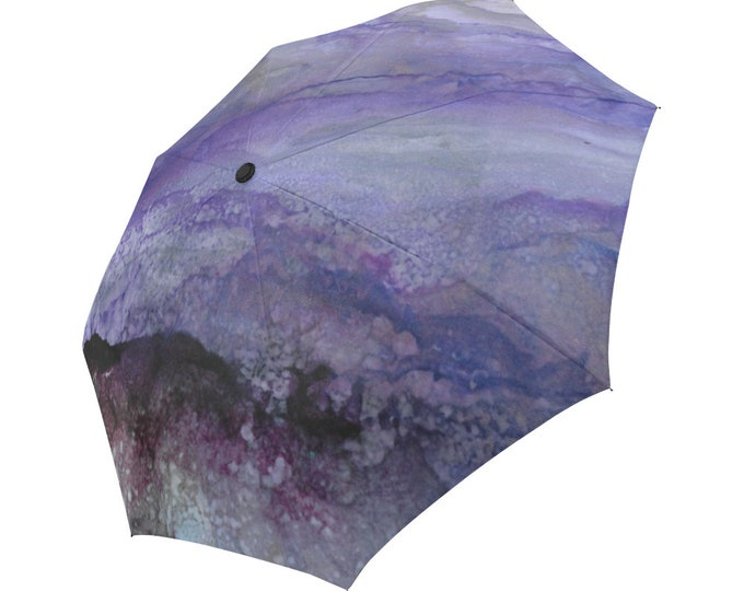 Automatic Open/Close Umbrella, Gift, Purple, Gray, Black, Abstract