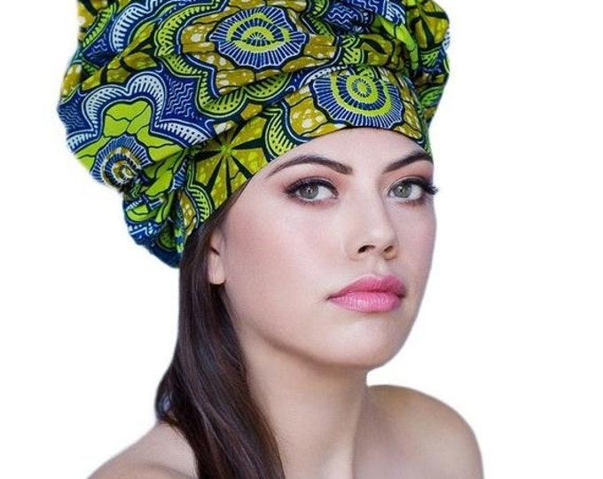 RETIREMENT SALE African Wax Print Turban Dreads Wrap, Blue Gold Black Head Wrap, Alopecia Scarf, Chemo Hat, Boho Gypsy Tribal, 1 Piece Wrap